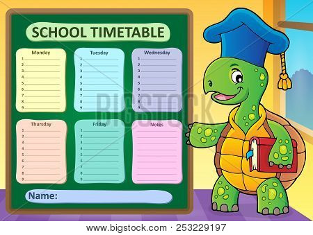 Weekly School Timetable Template 1 - Eps10 Vector Picture Illustration.