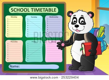Weekly School Timetable Template 6 - Eps10 Vector Picture Illustration.
