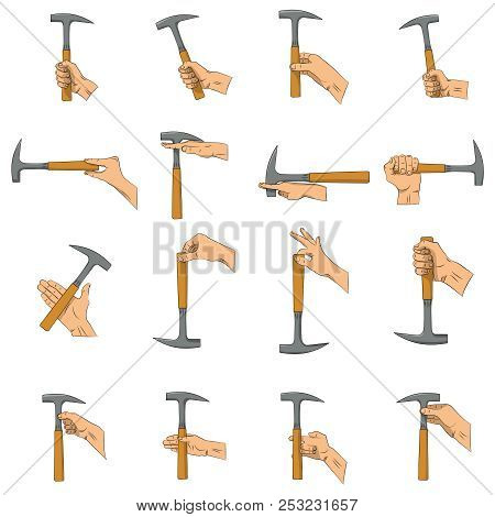 Hammer In Hand. Right And Wrong Ways To Hold Hammer. Hand Holding The Hammer With The Wrong Side, Re
