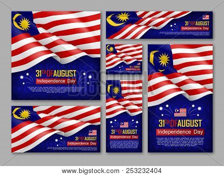Malaysian Independence Day Celebration Posters Set. 31th Of August Felicitation Greeting Vector Illu