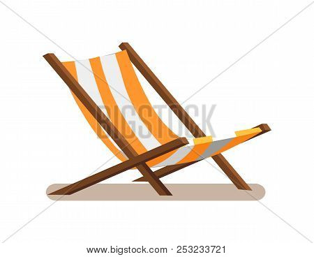 Hammock-chair With Stripes, Lounge Seat Of Yellow And White Color, Wooden Empty Sunbed Chaise-longue