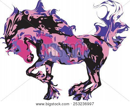 Pink Sherbert Pony, Abstract Pony Illustration In Shades Of Pinks And Purples On A Transparent Backg