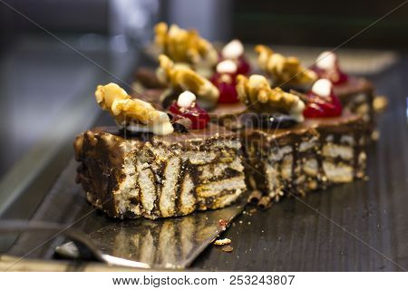 Mosaic Chocolate Cake With Walnut And Berries