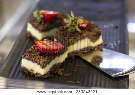 Curd Chocolate Cakes With Fresh Strawberries On A Tray