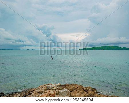 Rocky Coast Beach Seascape On Idyllic Ocean And Blue Sky,khao Laem Ya Nation Park Thailand,holiday I
