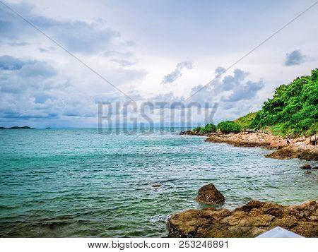 Rocky Coast Beach In Idyllic Ocean And Cloudy Sky,khao Laem Ya Nation Park Thailand,holiday Concept