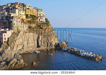 Sunset light in Manarola Village