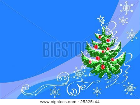 Fir-tree  With The Drawn Toys And Snow-storm