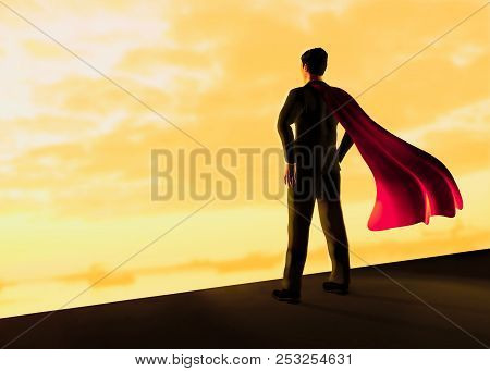 Businessman With A Red Flying Cape Like Superman 3d Illustration