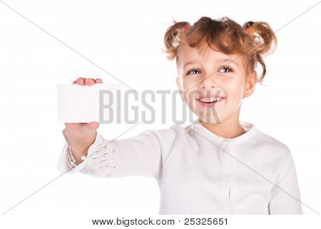 Girl Holding Empty Card