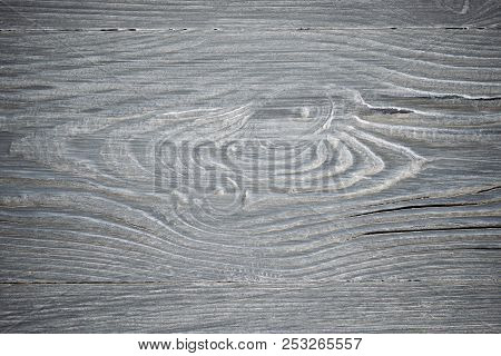 Wood Texture. Gray Timber Board With Weathered Crack Lines. Natural Background For Shabby Chic Desig
