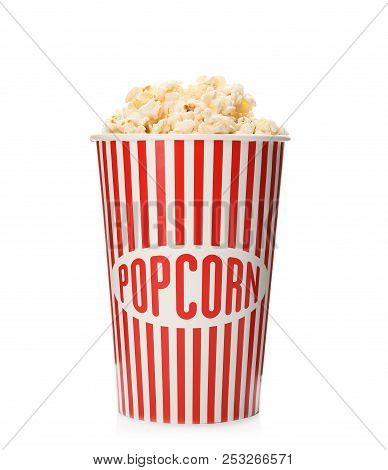Paper Cup With Of Tasty Popcorn On White Background