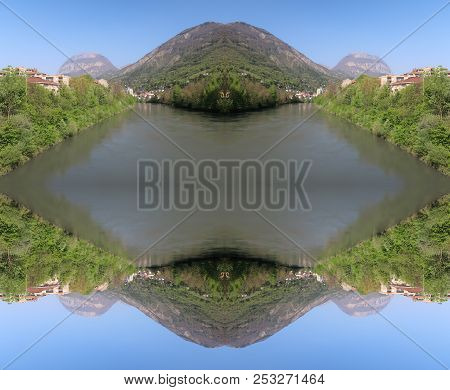 Optical Illusion Of The Isère River And The City Of Grenoble, France. The Illusion Was Made Using A