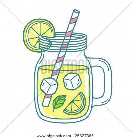 Lemonade In Mason Jar Mug With Drinking Straw And Lemon Wedge. Refreshing Summer Drink Vector Clip A