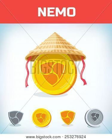 Nemo In Chinese Straw Hat. Nemo. Digital Currency. Crypto Currency. Money And Finance Symbol. Miner