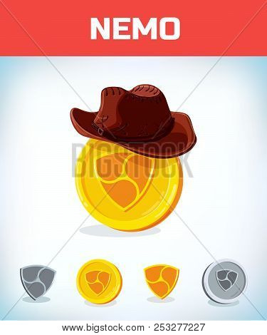 Nemo In Cowboy Hat. Nemo. Digital Currency. Crypto Currency. Money And Finance Symbol. Miner Bit Coi