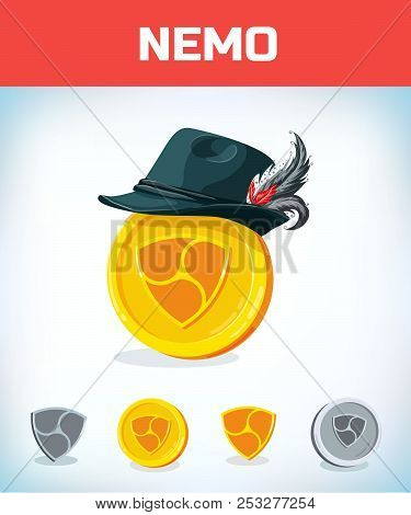 Nemo In National German Hat. Nemo. Digital Currency. Crypto Currency. Money And Finance Symbol. Mine