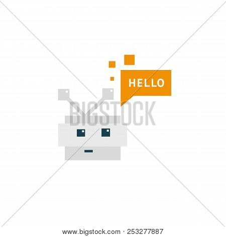 Support Service Bot Icon. Vector Illustration Artificial Intelligence. Logo Concept Of Robot On Whit