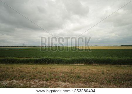 Fields And Farms In The Zuidplaspolder In Moordrecht In The Netherlands.