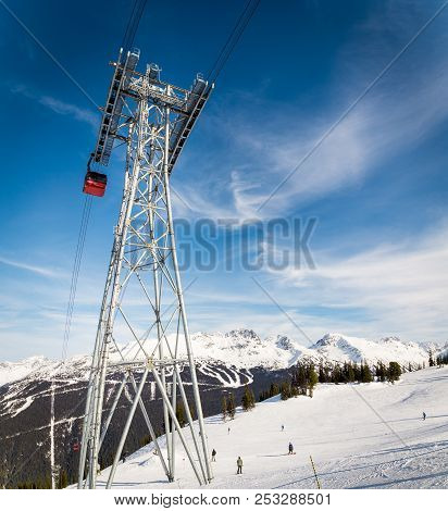 Whistler, Bc, Canada - Feb 09, 2016: South Tower Of The Peak To Peak Gondola In Whistler, Bc.