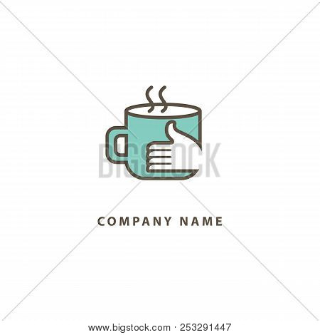 Vector Stock Logo, Abstract Sign Of Cafe, Vector Template Of Cafeteria And Bistro. Illustration Desi