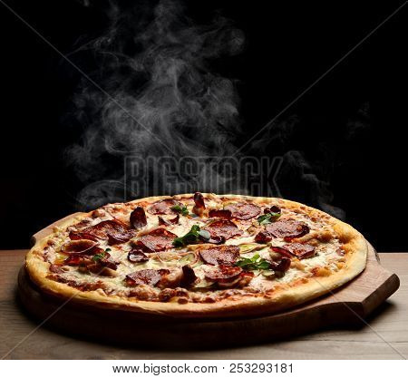 Hot Big Pepperoni Pizza Tasty Pizza Composition With Melting Cheese Bacon Tomatoes Ham Paprika Steam