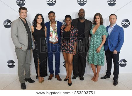 LOS ANGELES - AUG 07:  Nathan Fillion, Alyssa Diaz, Titus Makin Jr., Afton Williamson and Alexi Hawley arrives to ABC TCA Summer Press Tour White Carpet Event  on August 7, 2018 in Hollywood, CA