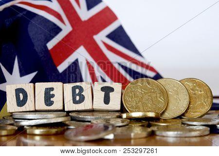 Australian Dollars, Debt Sign And National Flag.