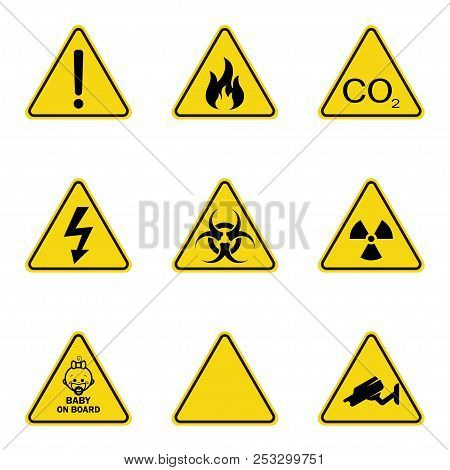 Set Of Triangle Warning Signs. Warning Roadsign Icon. Danger-warning-attention Sign. Yellow Backgrou