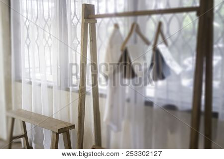 Warm Cozy Room With White Curtain, Stock Photo