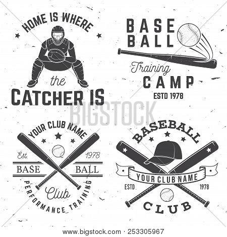 Set Of Baseball Or Softball Club Badge. Vector Illustration. Concept For Shirt Or Logo, Print, Stamp