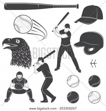 Set Of Baseball Equipment And Gear. Vector Illustration. Baseball Seam Brushes. Ball For Baseball, B