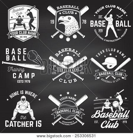 Set Of Baseball Or Softball Club Badge On The Chalkboard. Vector. Concept For Shirt Or Logo, Print,