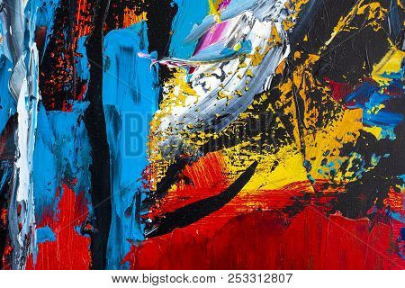 Abstract Art Background. Oil Painting On Canvas. Decoration, Colors.