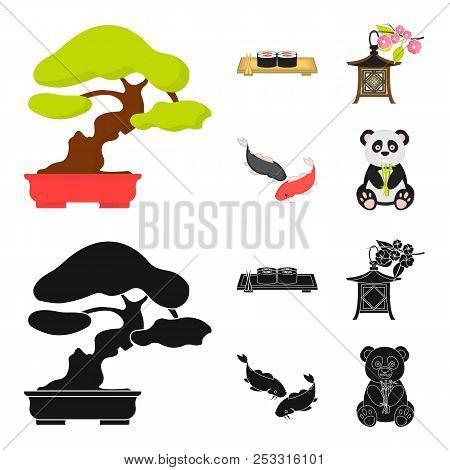 Sushi, Koi Fish, Japanese Lantern, Panda.japan Set Collection Icons In Cartoon, Black Style Vector S