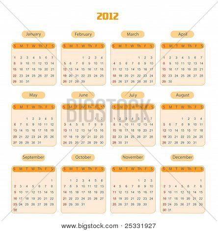 Calendar for 2012 isolated on white background. with photo frames - put your photos into. Starts sun