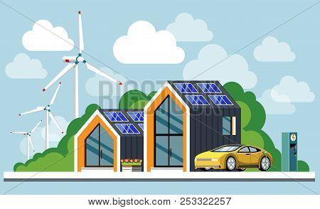 Energy Saving House. Ecological House. Green Energy An Eco Friendly Modern House. Solar, Wind, Geoth