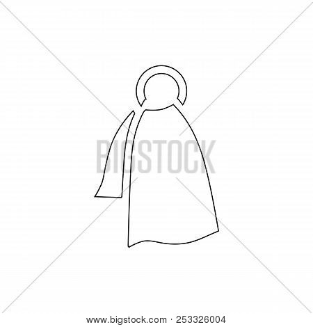 Towel On A Hanger Icon In Outline Style Isolated On White Background