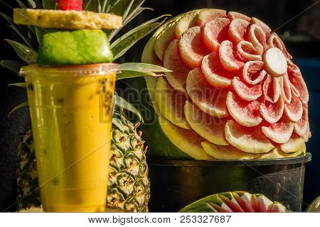Cocktail With Fresh Juice And Decorated Watermelon