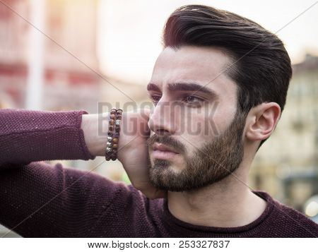 Handsome Serious Young Man Standing Outside In Elegant European City Center, Turin In Italy