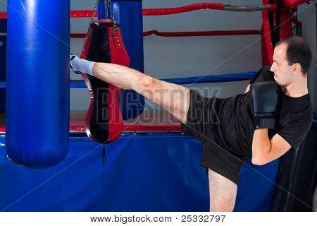 Boxer Roundhouse Kicking A Sand Bag