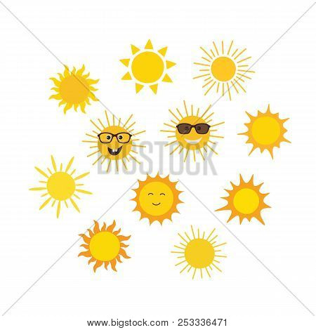 Funny Vector Doodle Sun. Set Of Suns In Cartoon Style