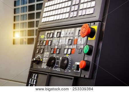 Emergency Stop Button Depth Of Field, Focus Blur In Cnc Machine Control Panel With Machining Machine