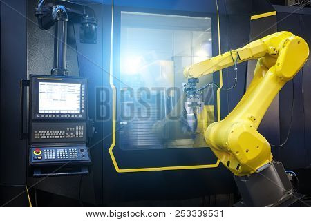 Robot Arm Motion Blur In Machine Tool Metalworking Process For Industry Manufacture, Cnc Metal Machi