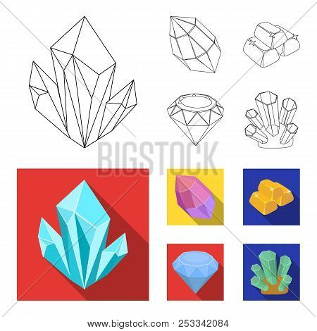 Crystals, Minerals, Gold Bars. Precious Minerals And Jeweler Set Collection Icons In Outline, Flat S