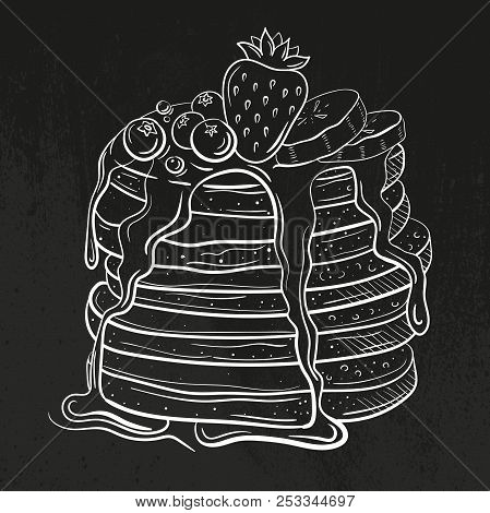 Pancakes Wits Honey Or Butter. Topping With Strawberry, Curant And Blueberry, Bananas. Pile Of Flapj