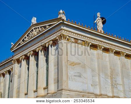 Athens, Greece - June 30, 2018. Facade Detail Of The Academy Of Athens. Greece National Academy With