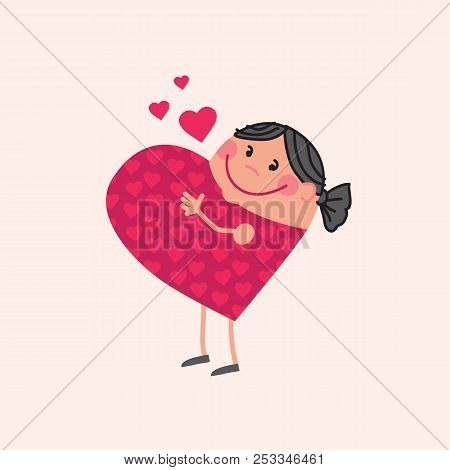 Mother Mascot In Heart Shape. Cute Concept, Pregnant Woman In Love And Waiting Baby. Cute Pregnant G