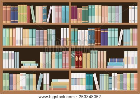 Bookshelves Full Of Books. Education Library And Bookstore Concept. Seamless Pattern. Vector Illustr