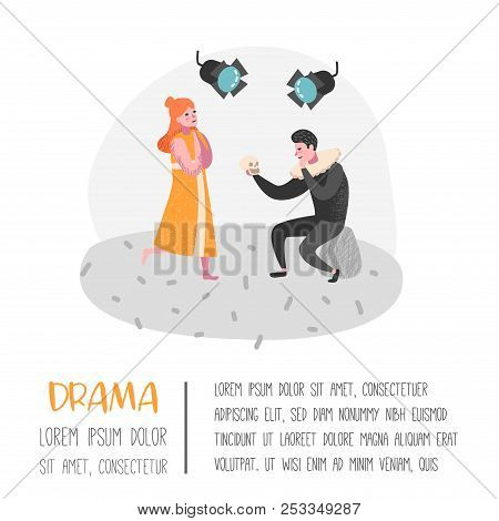 Theater Actor Characters. Flat People Theatrical Stage Poster. Artistic Perfomances Man And Woman. V